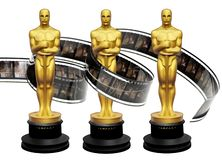 Oscars awards statuettes with movie film royalty free illustration