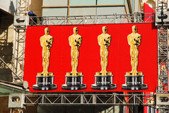 Oscars Banner, Hollywood. The Oscars set up for their big night in Hollywood, Californ stock photos