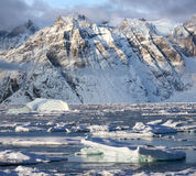 格陵兰国王Oscars Fjord - 图库摄影