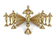 Oscars-Statuen-Gruppenkonzept Stockfoto