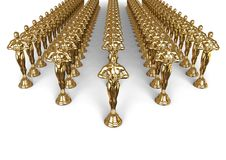 Oscars statues in rows concept Royalty Free Stock Photography