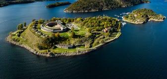 Oscarsborg堡垒在Oslofjorden,挪威 免版税库存照片