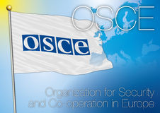 Osce flag. Original graphic elaboration flag OSCE Organization for Security and Co-operation in Europe vector illustration