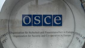 Организация для безопасность и сотрудничество в Вены OSCE Hofburg логотипа Европы акции видеоматериалы
