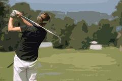 Oscilación del golf de la señora Imagenes de archivo