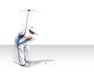 Oscilación del golf en el movimiento (con el camino del clip) imagenes de archivo