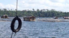 Oscilación vertical del neumático a lo largo de la orilla del lago almacen de metraje de vídeo