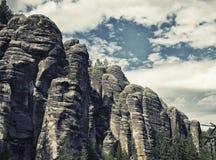 Oscile la ciudad, parque nacional de Adrspach-Teplice en la República Checa, efecto del hdr Imagenes de archivo