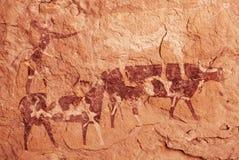 Oscile las pinturas del ` Ajjer, Argelia de Tassili N imagen de archivo libre de regalías