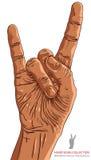 Oscile a mano la muestra, símbolo de la mano del rollo de la roca n Imagenes de archivo