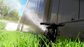 Oscillating lawn sprinkler watering grass Stock Image