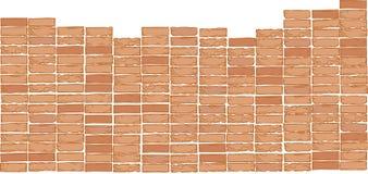 Oscillating vector bricks. Brick wall background.Color drawing Royalty Free Stock Image
