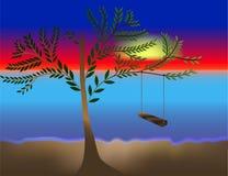Oscillation d'été d'aube de coucher du soleil d'arbre illustration stock