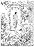 Oscillation d'équitation de zentangle de princesse de fille d'illustration de vecteur Bois, cadre, fleurs, arbre d'oiseaux, griff Images stock