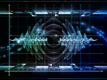 Oscillation Graph. Information Processing series. Arrangement of graph , wave and fractal elements on the subject of science, theoretical physics, technology and Stock Images