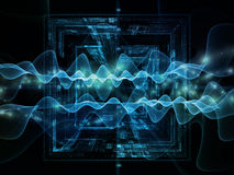 Oscillation Signal. Information Processing series. Arrangement of graph , oscillating wave and fractal elements on the subject of science,  physics, technology Stock Photo