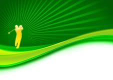 Oscillazione del giocatore di golf sul verde Immagini Stock