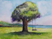 Oscillazione dell'albero del paesaggio dell'illustrazione e mare della montagna con le nuvole royalty illustrazione gratis
