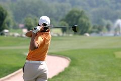 Oscillazione di golf della signora Fotografia Stock