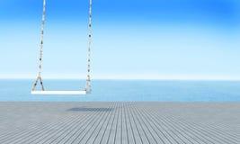 Oscillazione di legno con la vista del mare del salotto della spiaggia e il renderin blu di sky-3d Immagine Stock Libera da Diritti