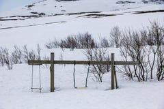Oscillazioni coperte di neve Immagini Stock