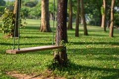 Oscillazioni di legno nel giardino con la mattina fotografia stock
