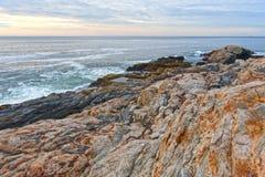 Oscilli i bordi ed il mare al punto di Pemaquid, Maine Fotografie Stock Libere da Diritti