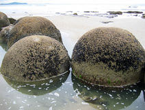 Oscilli i massi in acqua lungo il litorale Immagini Stock Libere da Diritti
