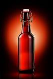 Oscilli la bottiglia superiore della birra leggera isolata su fondo nero Fotografia Stock Libera da Diritti