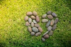 Oscilli la forma del cuore su un campo di erbe verdi Fotografie Stock Libere da Diritti