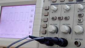 Oscilloscope. It is a digital oscilloscope panel Royalty Free Stock Image