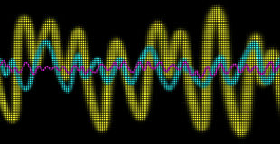 Oscilloscope. Three colored waves are displayed as a matrix Stock Image
