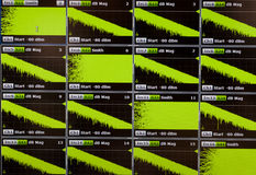Oscilloscope charts on the display. Green charts on diagnostic display Royalty Free Stock Photo