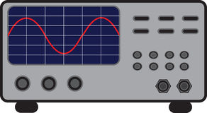 Oscilloscope. Electrical device for measuring frequency Royalty Free Stock Photos