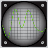 Oscilloscope. Illustration of round display oscilloscope with waveform Royalty Free Stock Photos