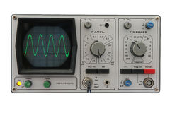 Oscilloscope isolated. Isolated image of an oscilloscope with sine wave displayed Stock Photos
