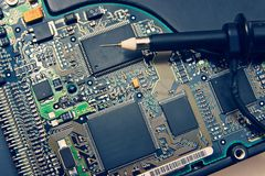 Oscilloscope Probe on pcb Stock Images