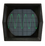 Oscilloscope screen. Sine wave displayed on isolated oscilloscope screen Royalty Free Stock Photo