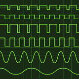 Oscilloscope screen editable lines. Illustration for the web Royalty Free Stock Image