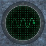 Oscilloscope screen with green wavy trace. Royalty Free Stock Images