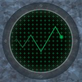 Oscilloscope screen with a zig-zag trace. Vector illustration Stock Photography