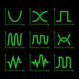 Oscilloscope Signal Set. Vector Royalty Free Stock Photos