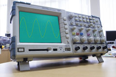 Oscilloscope with sine wave illustration Royalty Free Stock Photo