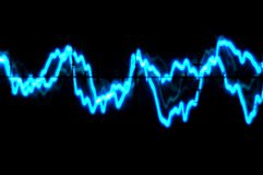 Oscilloscope trace to music. Electric Blue Oscilloscope trace to music Royalty Free Stock Image