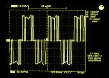 This oscilloscope waveform is of the output from a variable frequency drive (VFD) that powers an ele Stock Images