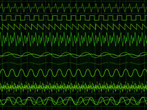 Oscilloscope Waves. Different oscilloscope waves. Vector illustration on graph background Stock Photography