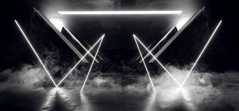 Oscuridad brillante blanca de neón del Grunge del hormigón del metal de la nave espacial de Sci Fi del triángulo del extracto del ilustración del vector