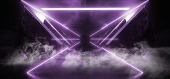 Oscuridad brillante del Grunge del hormigón del metal de Violet Purple Glowing Triangle Sci Fi del humo de la nave espacial del t stock de ilustración