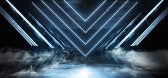 Oscuridad brillante del Grunge del hormig?n del metal de la p?rpura del humo de Violet Glowing Triangle Sci Fi de la nave espacia libre illustration