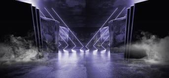Oscuridad brillante del Grunge del hormig?n del metal de la p?rpura del humo de Violet Glowing Triangle Sci Fi de la nave espacia ilustración del vector